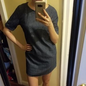 Chambray denim jean sheath dress